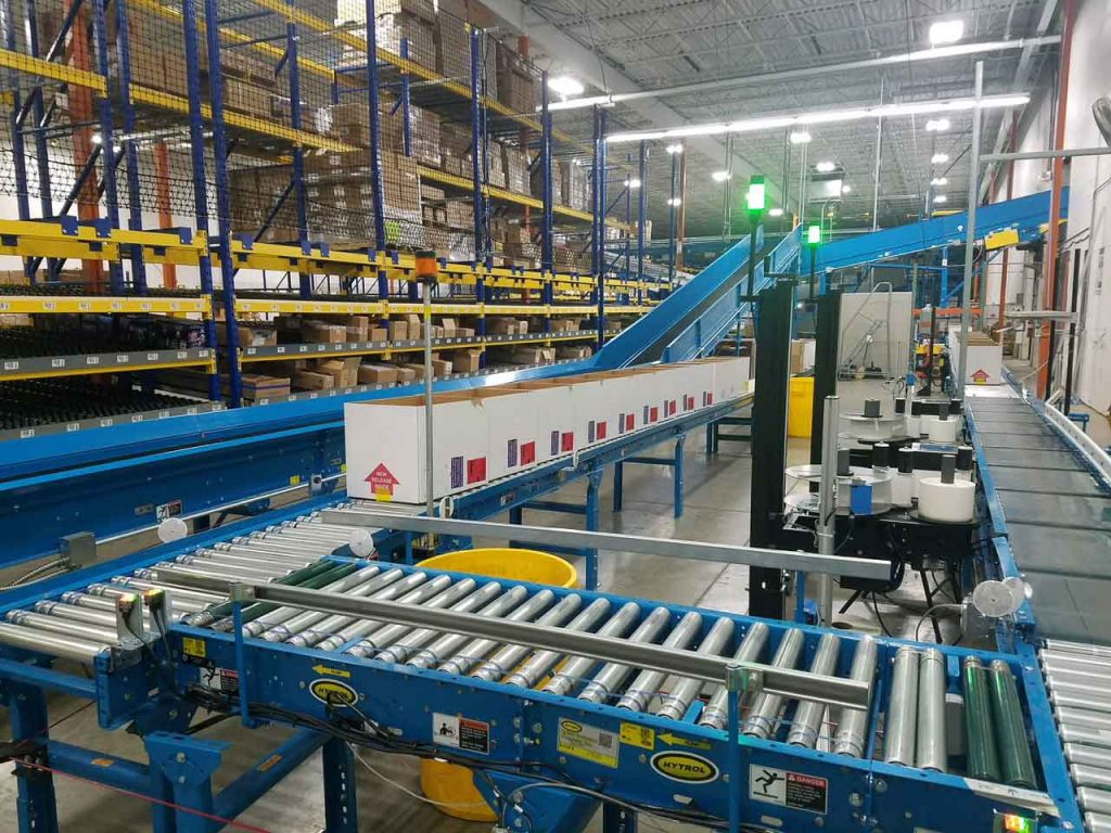 Warehouse Tilted Shelving Storage and Conveyor System