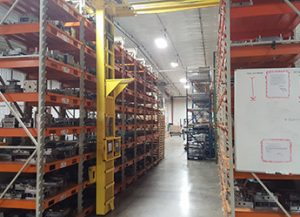 Warehouse with Installed STAK System with Product on Racks