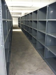 row of used shelves
