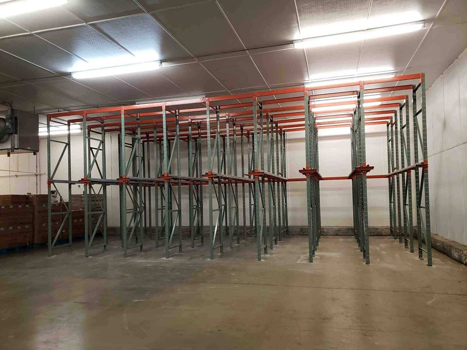 newly installed empty drive-in pallet racks
